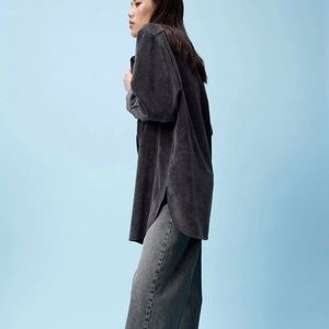 New ZARA Oversized Textured Fine Corduroy Long Sleeve Shirt Sz M Shacket Weave